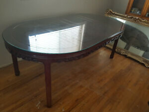 Hand Carved, Glass Top Dining Table
