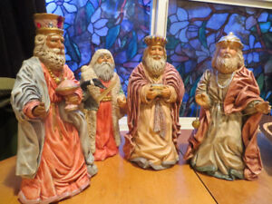 4 large Christmas figures, beautifully painted