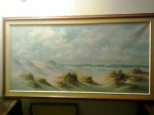 "Oil on canvas painting by ""Marilno"" of lighthouse over the beach"