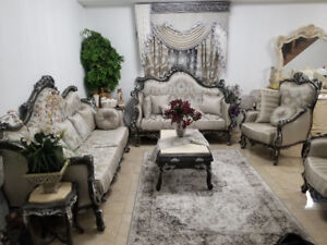 Royal sofa wood handcrafted and Italian design 7 piece ($13500)