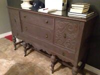 Refinished Antique Hutch/Sideboard solid wood