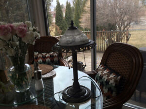 Lamp, excellent condition, metal and glass