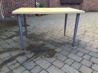 Ikea desk light wood with aluminium legs