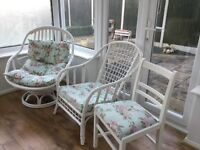 Selection of wicker & wooden chairs