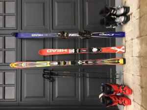 Full Downhill skis set: 3 pairs of Skis, 2 pair of Boots