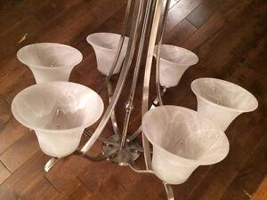 Lampe suspendue plafonnier en métal et verre fumée