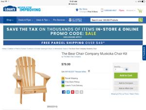 Solid Pine Muskoka Chair Kit