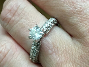 1.00 ct. tw. Diamond Solitaire w/Pave 14k white gold