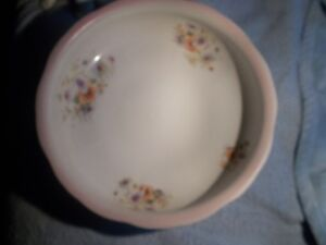 ANTIQUE WOOD & SON LARGE FLORAL WASH BASIN/BOWL