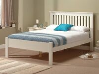 White Wooden Super King Size Bed & Memory Foam Mattress For Sale