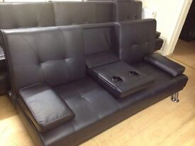 Black sofa bed with cup holders