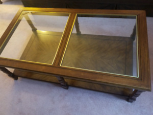 Teak and glass solid wood coffee table and 2 end tables