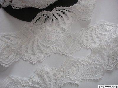 3 Lfm breite elastische Spitze 1,15€/m weiß 3,7cm breit AO9