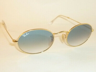 New RAY BAN Oval Flat Sunglasses Gold Frame  RB 3547N 001/3F Gradient Blue  54mm