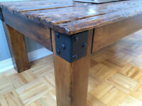 Table Rustique Bois Recyclé / Recycled Wood Rustic Coffee Table