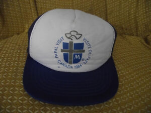 Vintage Blue Papal Visit Canada 1984 Adjustable Trucker Baseball