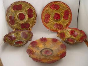 Antique 5 pcs Goofus [ Carnival Glass ] dates 1897 to 1920's