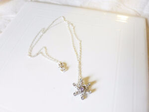 Silver Snowflake pendant with fine chain