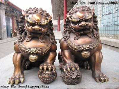 Chinese classical Bronze Copper Evil Guardian Door Bei Jing Fu Foo Dog Lion Pair