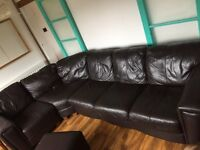 PRICE DROP Leather corner sofa brown