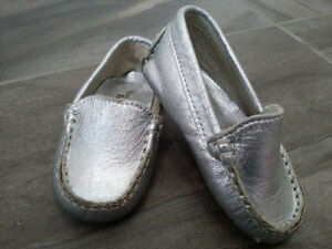 Baby Dress Shoes - Silver Leather Baby Mocs Handmade in Brazil