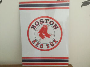 Metal sign for Boston Red Sox