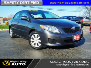2010 Toyota Corolla CE | LOW KMS | SAFETY CERTIFIED