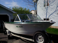 16 foot Deep V boat with 80 hp Mercury Outboard and Shorelander