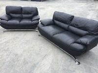 3 & 2 MODERN BLACK HARVEYS LEATHER SOFAS