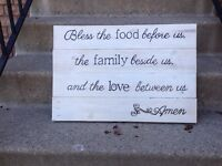 """Reclaimed rustic wood signs -""""family blessing"""""""