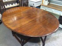 Antique Oak Oval Barley Twist Gate leg Dining Table