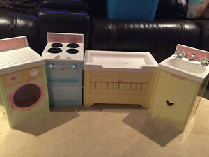 Toy sink, washer, change table and stove