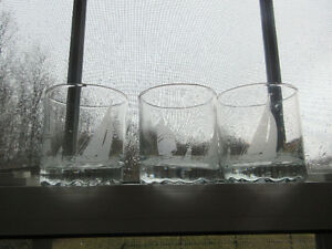 3 etched glass Whiskey Sailing Glasses Barware