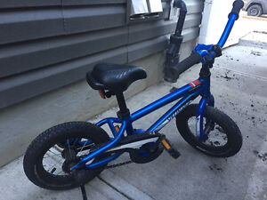 "High end boy's bike, 12"", dark blue, like new."
