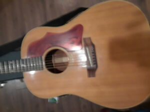 GIBSON J-50 ACOUSTIC GUITAR WITH PICK-UP. AND FENDER AMP