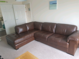 Chocolate Brown Leather L Shaped Sofa