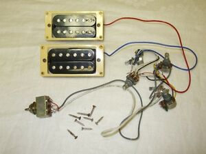 Guitar Humbuckers with Pots Switch Jack and Fasteners Vintage