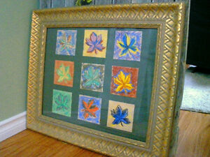 Original Pastel Maple Leaves with Frame NEW