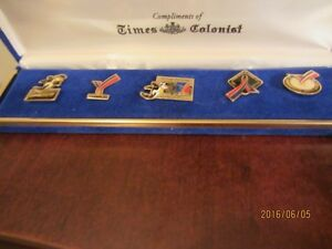 5 Collector Pins in Box - 1994 Vancouver Commonwealth Games Moose Jaw Regina Area image 1