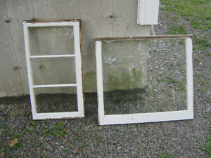 several older style wood framed windows