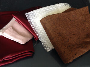 Destash of Satin Fabric, brown felt and curtain lace ends