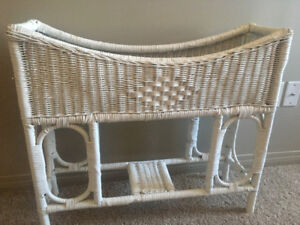 Chic White WICKER Plant/Towel Stand