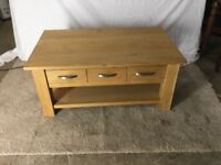 Solid oak 3 drawer coffee table