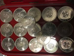 18x 1964 Canada silver dollars