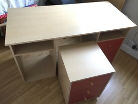 Study desk and side draws