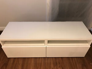 IKE BESTÅ TV unit with WHITE HIGH-GLOSS drawers & GlassTop