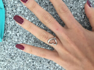 Sterling silver TIFFANYS open heart ring