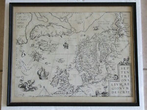 FRAMED ANTIQUE MAP - ARCTIC AND SCANDINAVIA