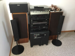 JVC stereo with speakers and subwoofer