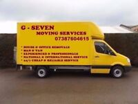 FROM £20p/h MAN AND VAN REMOVAL SERVICE 24/7 HOUSEMOVE-OFFICEMOVE-SINGLE ITEM-FULLY INSURED